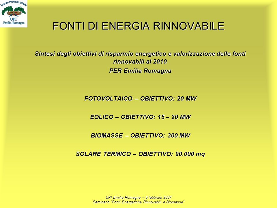 FONTI DI ENERGIA RINNOVABILE
