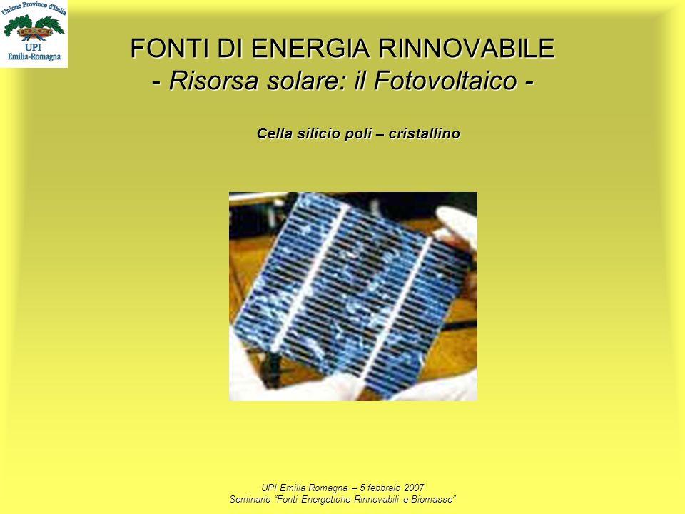 FONTI DI ENERGIA RINNOVABILE - Risorsa solare: il Fotovoltaico -