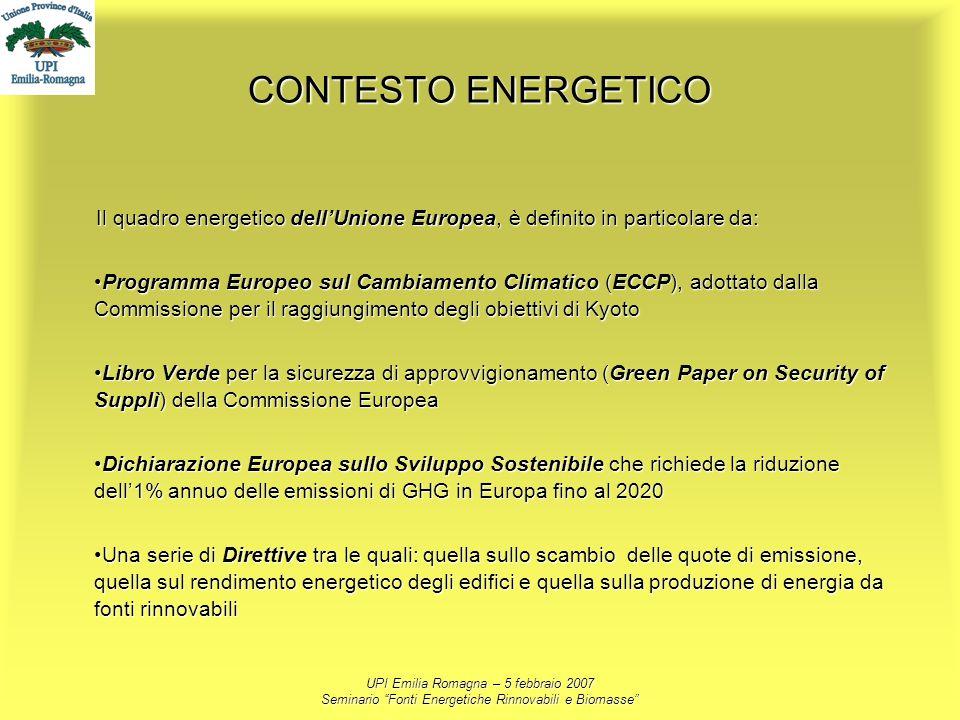 CONTESTO ENERGETICO Il quadro energetico dell'Unione Europea, è definito in particolare da: