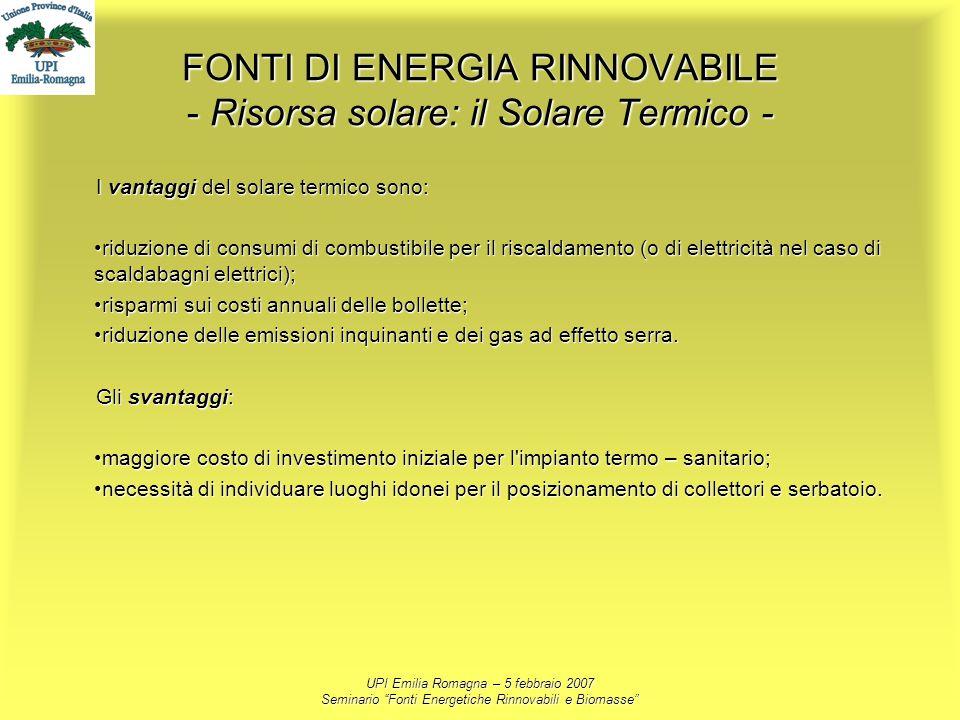 FONTI DI ENERGIA RINNOVABILE - Risorsa solare: il Solare Termico -