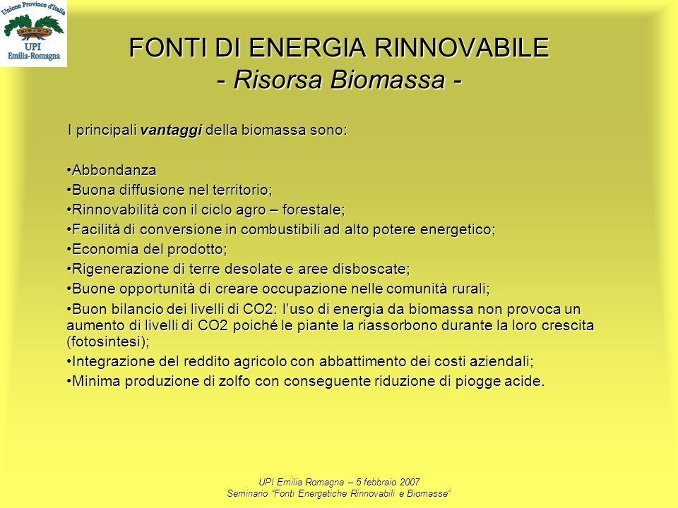 FONTI DI ENERGIA RINNOVABILE - Risorsa Biomassa -