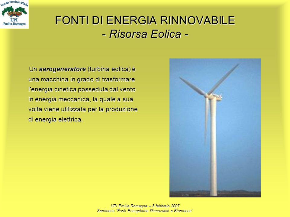 FONTI DI ENERGIA RINNOVABILE - Risorsa Eolica -