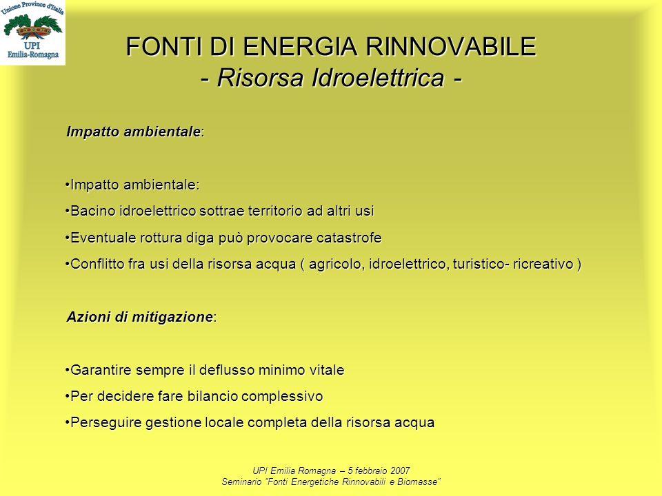 FONTI DI ENERGIA RINNOVABILE - Risorsa Idroelettrica -