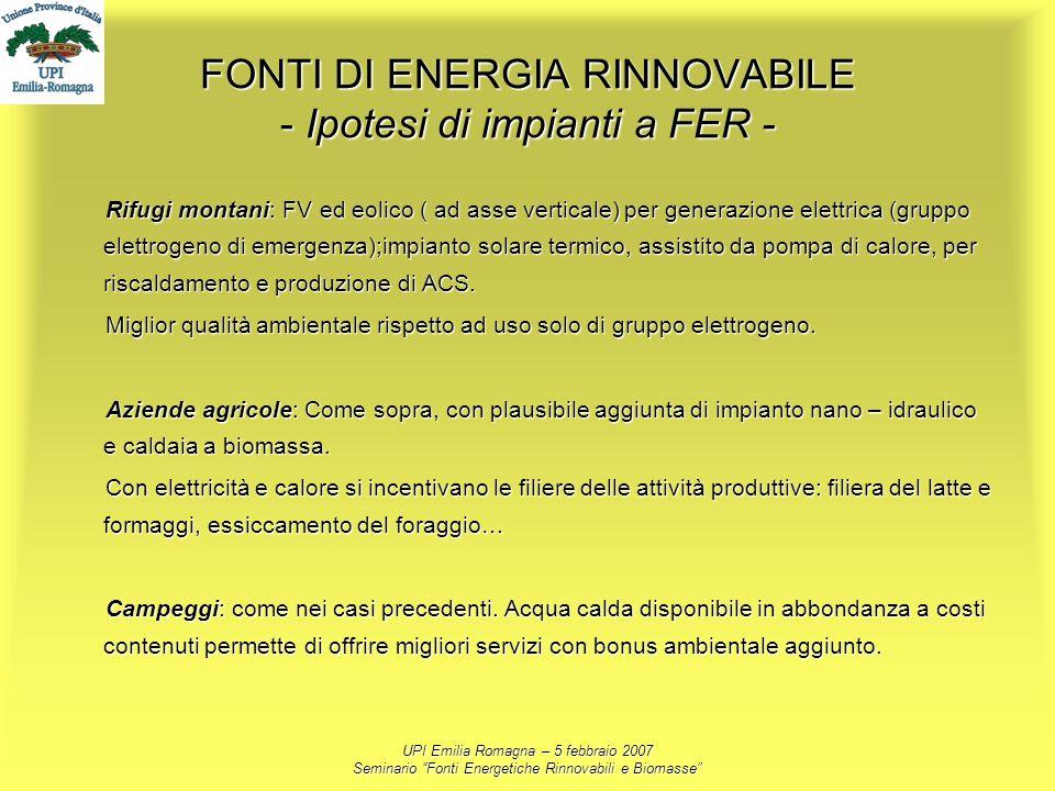 FONTI DI ENERGIA RINNOVABILE - Ipotesi di impianti a FER -