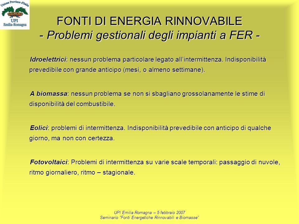 FONTI DI ENERGIA RINNOVABILE - Problemi gestionali degli impianti a FER -