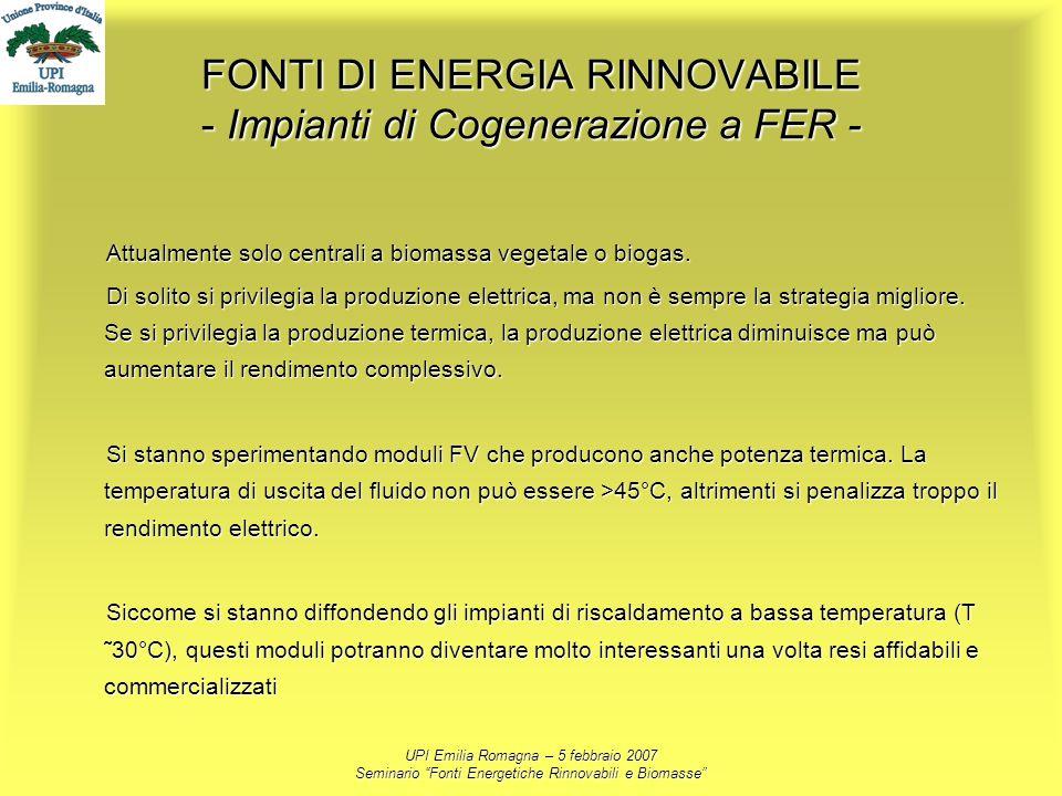 FONTI DI ENERGIA RINNOVABILE - Impianti di Cogenerazione a FER -