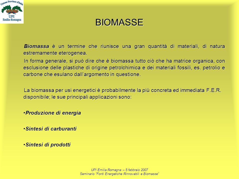 BIOMASSE Biomassa è un termine che riunisce una gran quantità di materiali, di natura estremamente eterogenea.