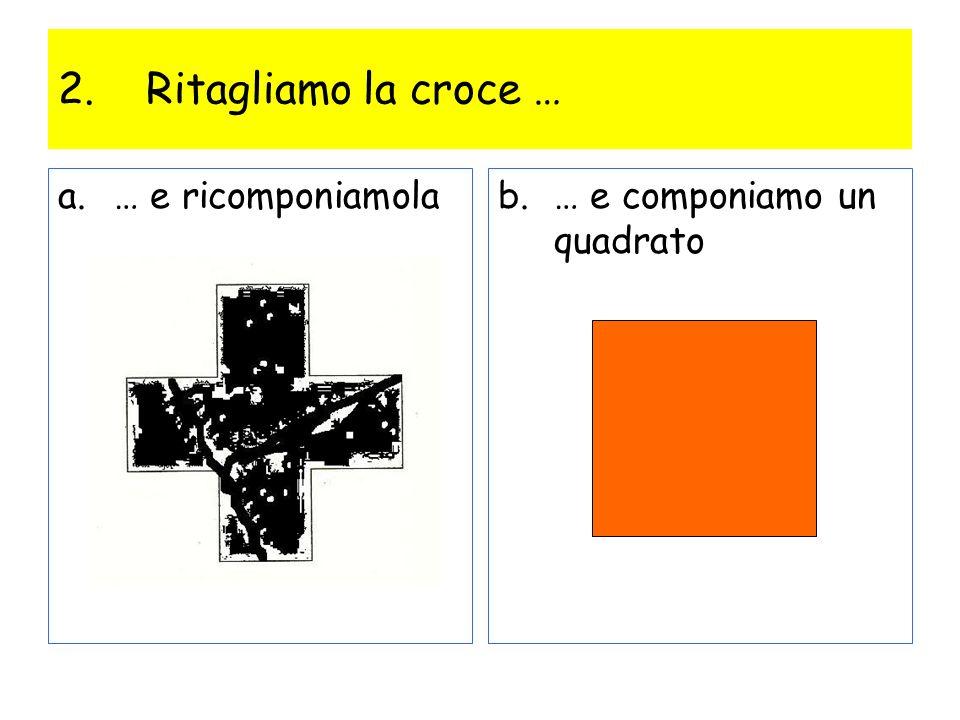 Ritagliamo la croce … … e ricomponiamola … e componiamo un quadrato