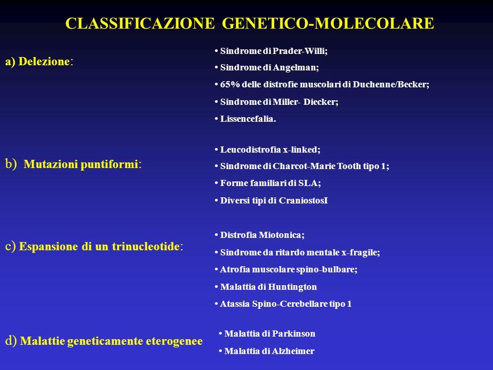CLASSIFICAZIONE GENETICO-MOLECOLARE