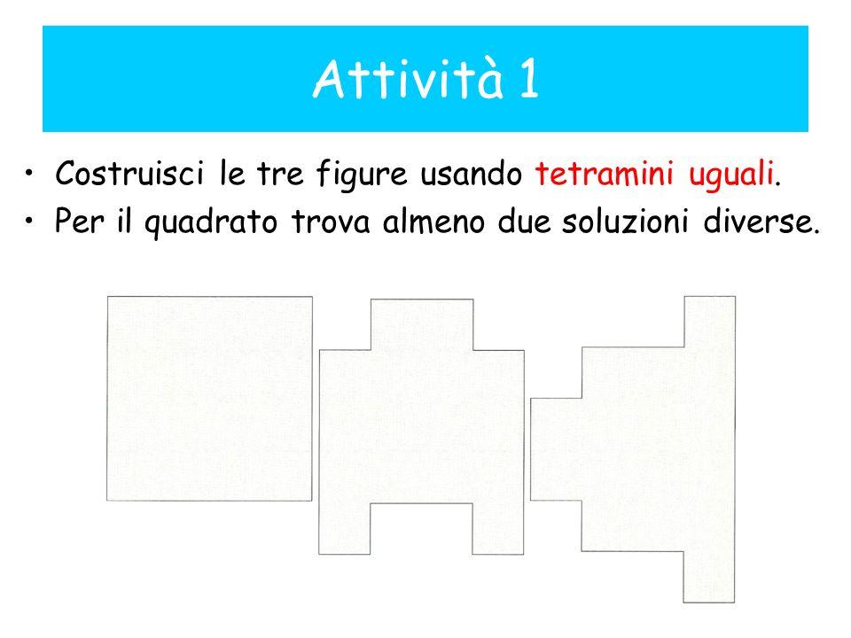 Attività 1 Costruisci le tre figure usando tetramini uguali.