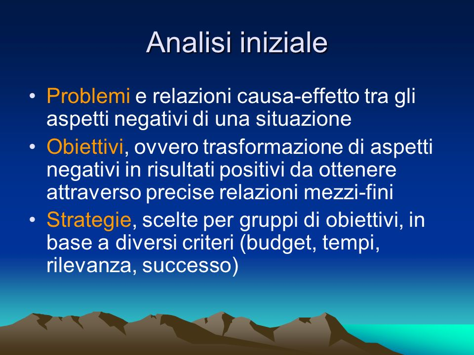 Analisi iniziale Problemi e relazioni causa-effetto tra gli aspetti negativi di una situazione.