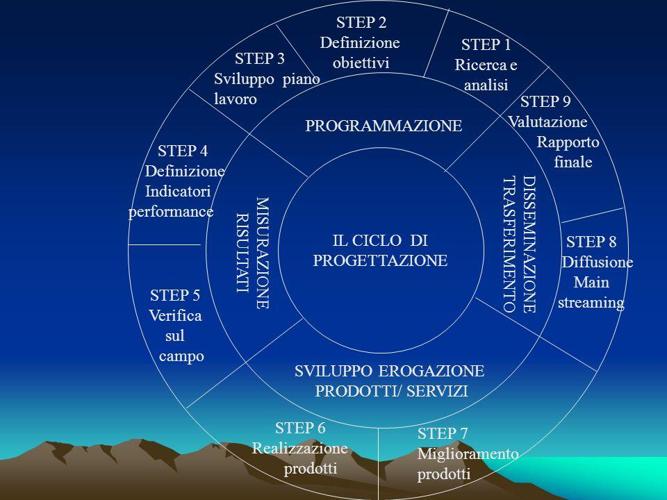 STEP 2 Definizione. obiettivi. STEP 1. Ricerca e. analisi. STEP 3. Sviluppo piano. lavoro. STEP 9.