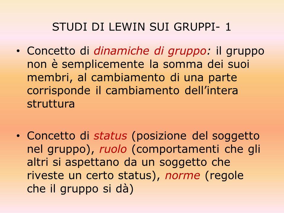 STUDI DI LEWIN SUI GRUPPI- 1