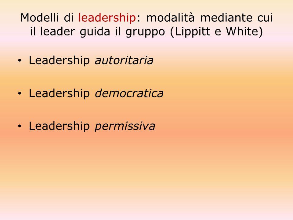 Modelli di leadership: modalità mediante cui il leader guida il gruppo (Lippitt e White)