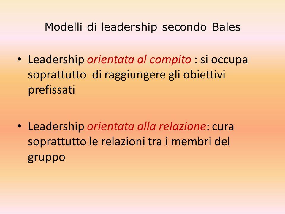 Modelli di leadership secondo Bales