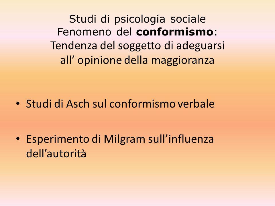 Studi di psicologia sociale Fenomeno del conformismo: Tendenza del soggetto di adeguarsi all' opinione della maggioranza