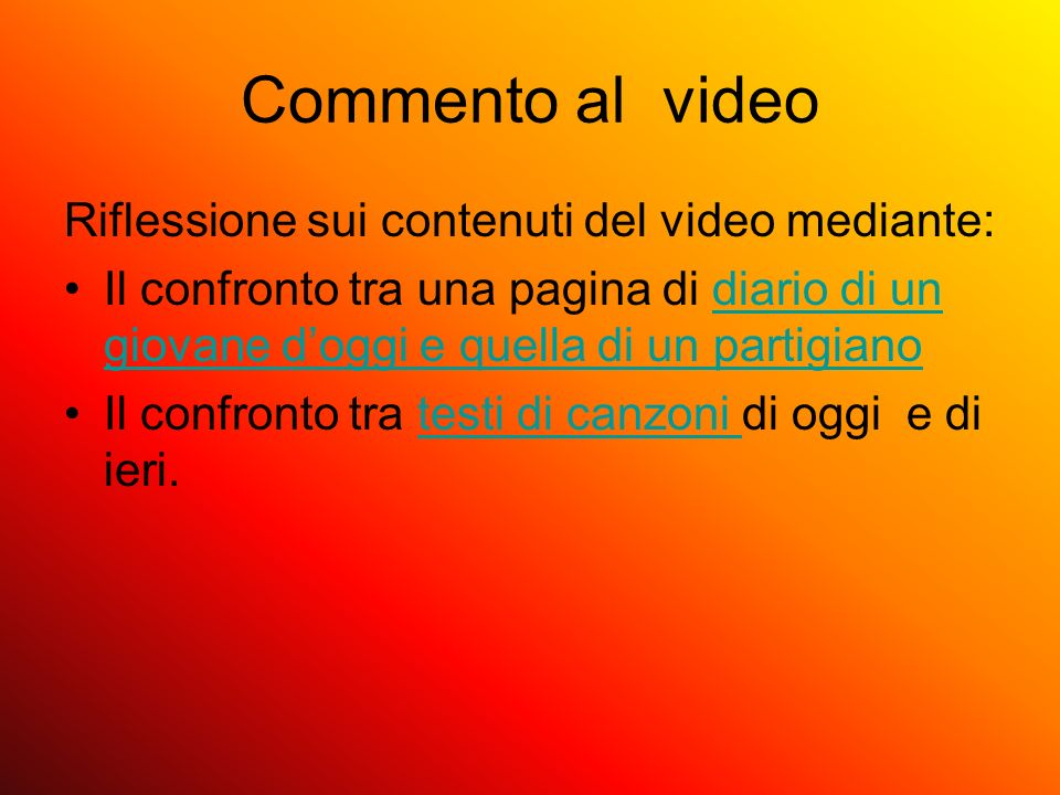 Commento al video Riflessione sui contenuti del video mediante: