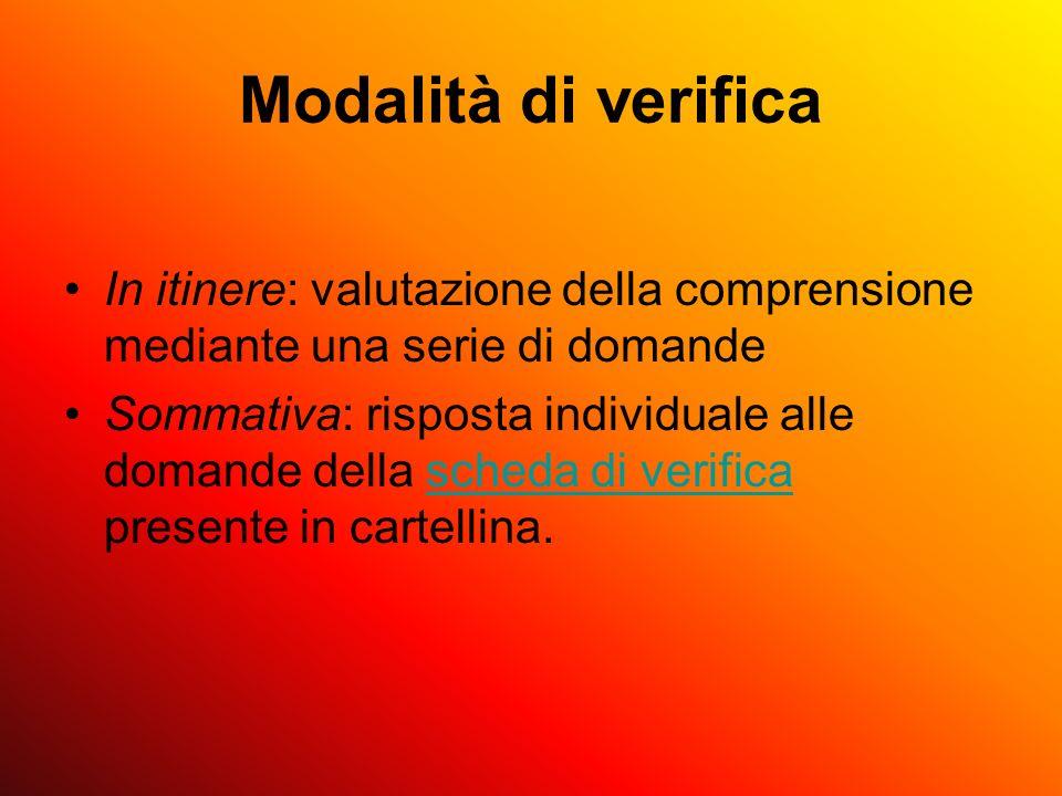 Modalità di verifica In itinere: valutazione della comprensione mediante una serie di domande.