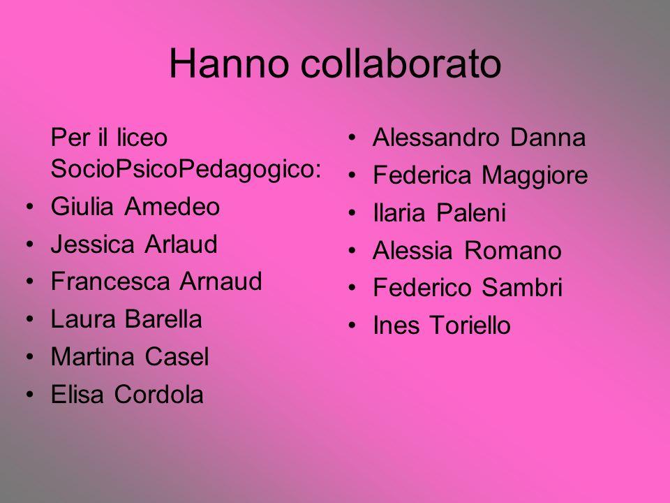 Hanno collaborato Per il liceo SocioPsicoPedagogico: Giulia Amedeo