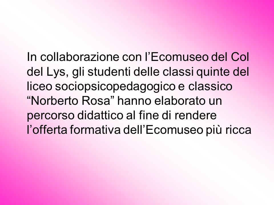 In collaborazione con l'Ecomuseo del Col del Lys, gli studenti delle classi quinte del liceo sociopsicopedagogico e classico Norberto Rosa hanno elaborato un percorso didattico al fine di rendere l'offerta formativa dell'Ecomuseo più ricca