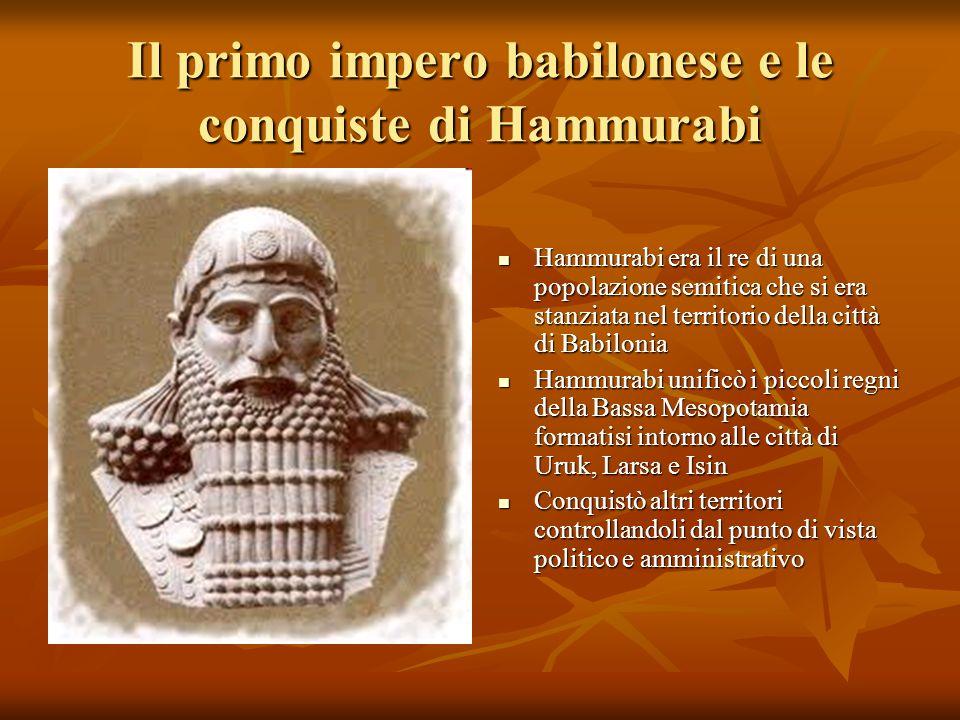 Il primo impero babilonese e le conquiste di Hammurabi