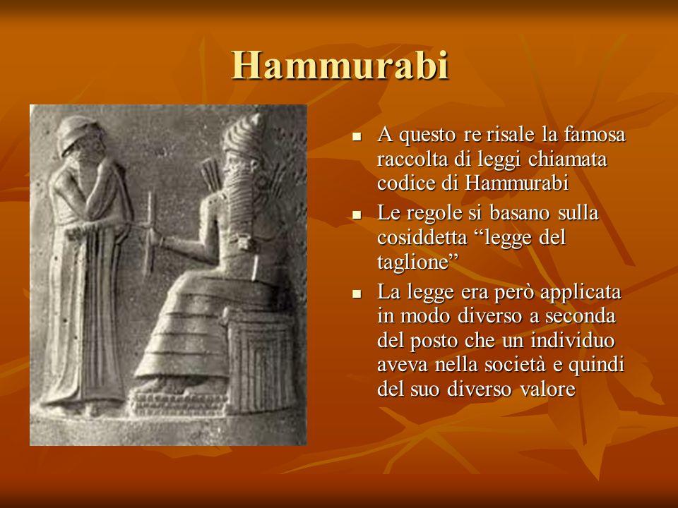 Hammurabi A questo re risale la famosa raccolta di leggi chiamata codice di Hammurabi. Le regole si basano sulla cosiddetta legge del taglione