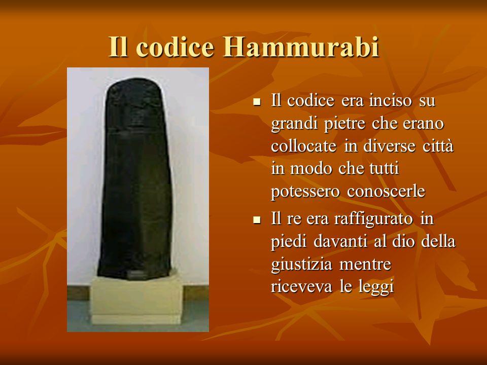 Il codice Hammurabi Il codice era inciso su grandi pietre che erano collocate in diverse città in modo che tutti potessero conoscerle.