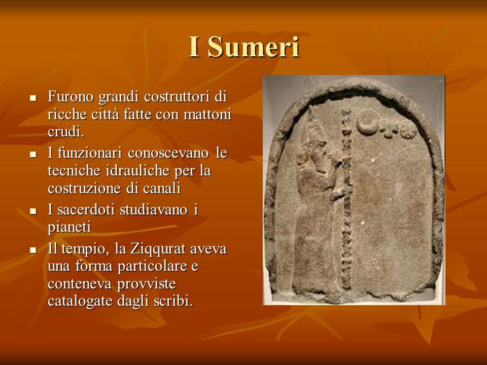 I Sumeri Furono grandi costruttori di ricche città fatte con mattoni crudi.