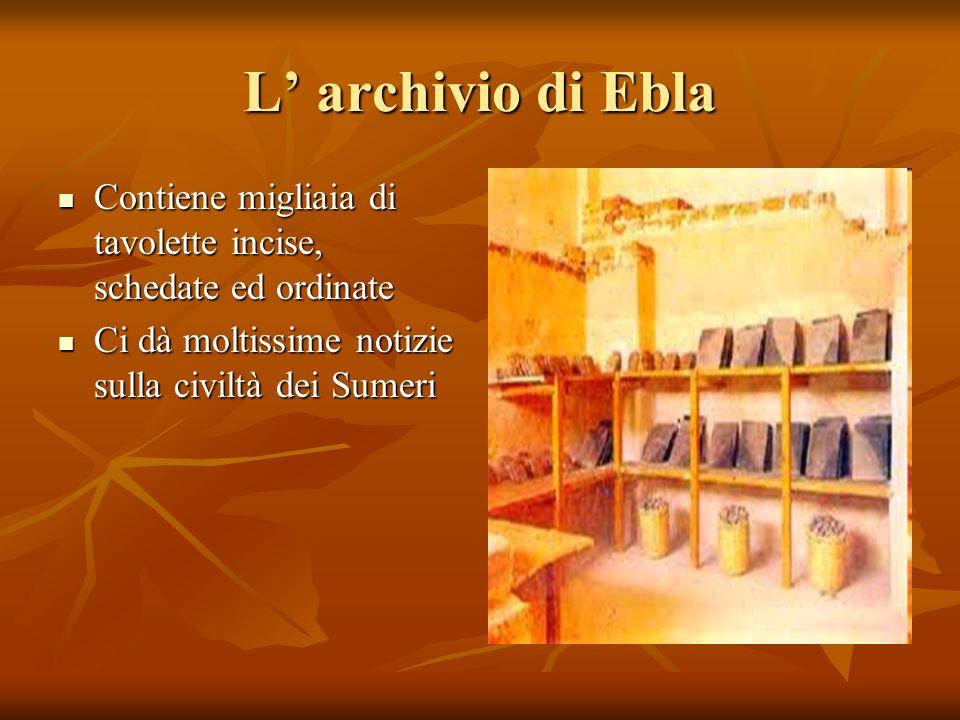 L' archivio di Ebla Contiene migliaia di tavolette incise, schedate ed ordinate.