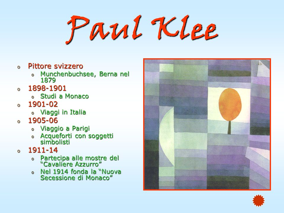 Paul Klee Pittore svizzero 1898-1901 1901-02 1905-06 1911-14