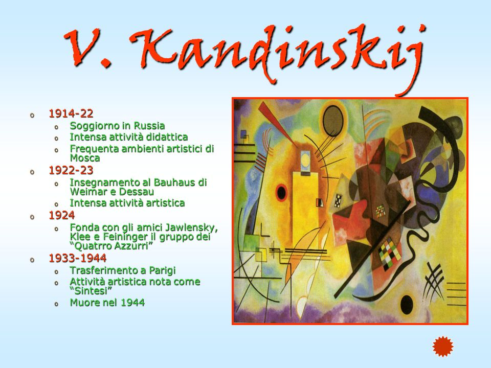 V. Kandinskij 1914-22 1922-23 1924 1933-1944 Soggiorno in Russia