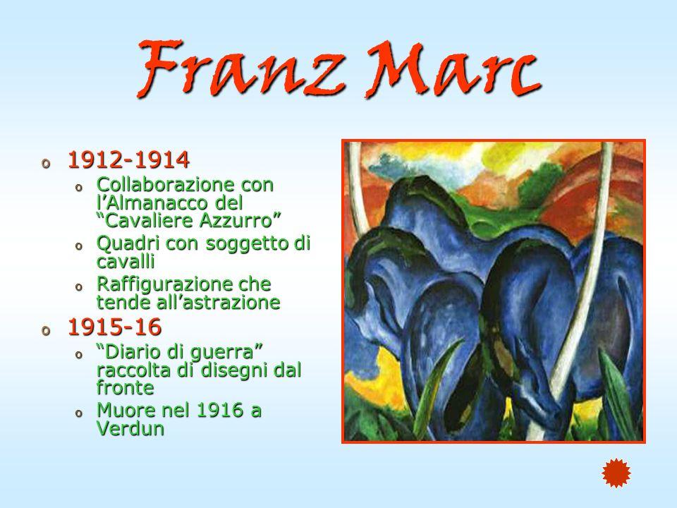 Franz Marc 1912-1914. Collaborazione con l'Almanacco del Cavaliere Azzurro Quadri con soggetto di cavalli.