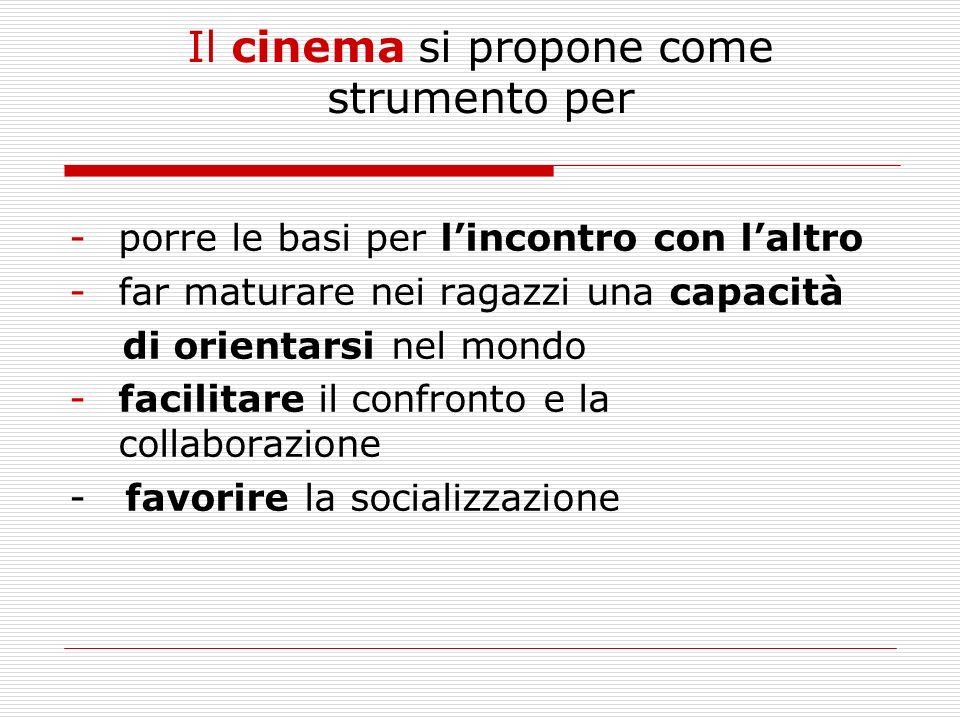 Il cinema si propone come strumento per