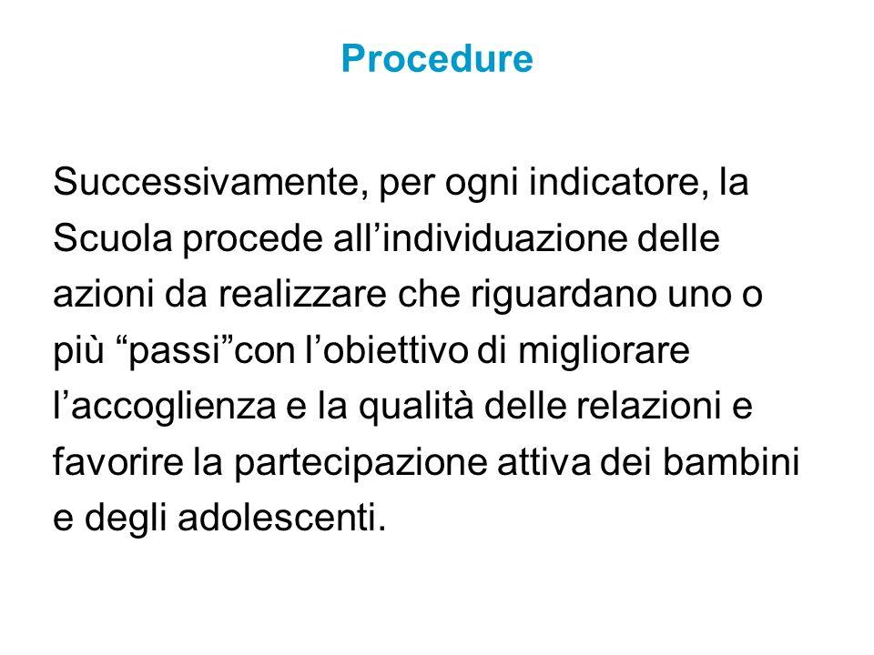 ProcedureSuccessivamente, per ogni indicatore, la. Scuola procede all'individuazione delle. azioni da realizzare che riguardano uno o.