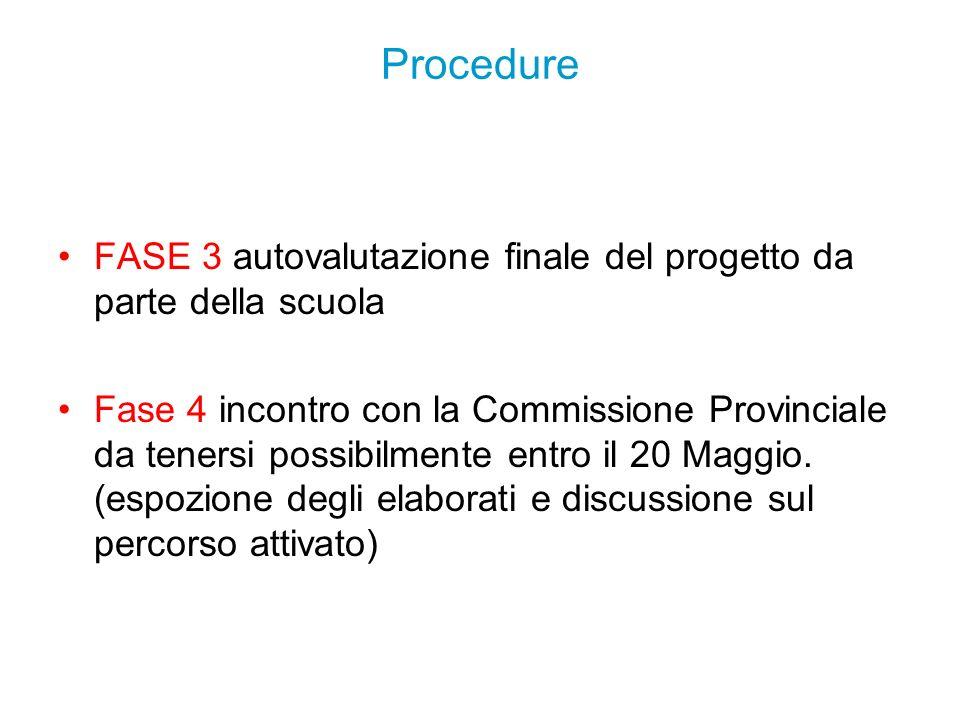 Procedure FASE 3 autovalutazione finale del progetto da parte della scuola.