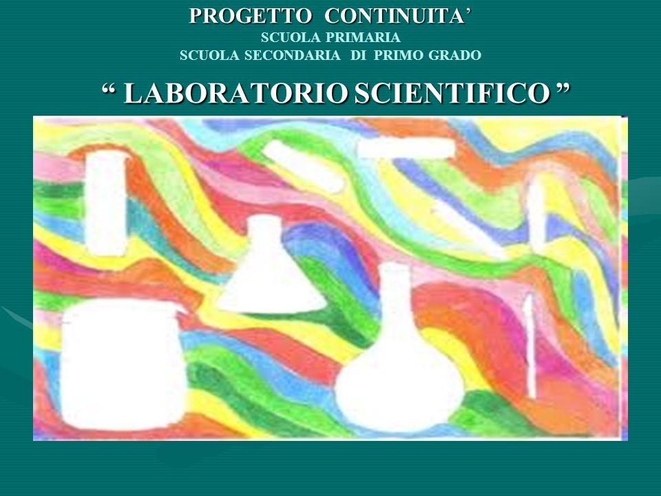 PROGETTO CONTINUITA' SCUOLA PRIMARIA SCUOLA SECONDARIA DI PRIMO GRADO LABORATORIO SCIENTIFICO