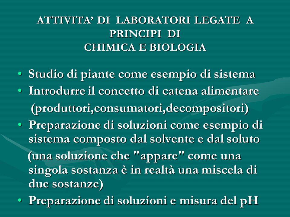 ATTIVITA' DI LABORATORI LEGATE A PRINCIPI DI CHIMICA E BIOLOGIA