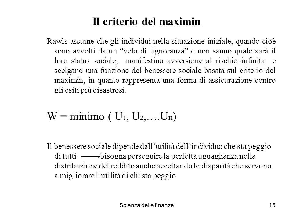 Il criterio del maximin