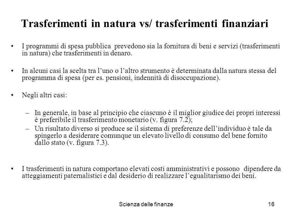 Trasferimenti in natura vs/ trasferimenti finanziari
