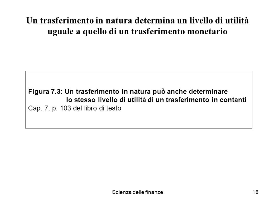 Un trasferimento in natura determina un livello di utilità uguale a quello di un trasferimento monetario