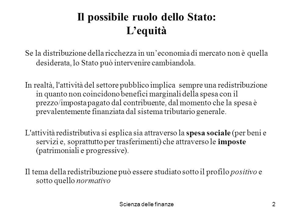 Il possibile ruolo dello Stato: L'equità