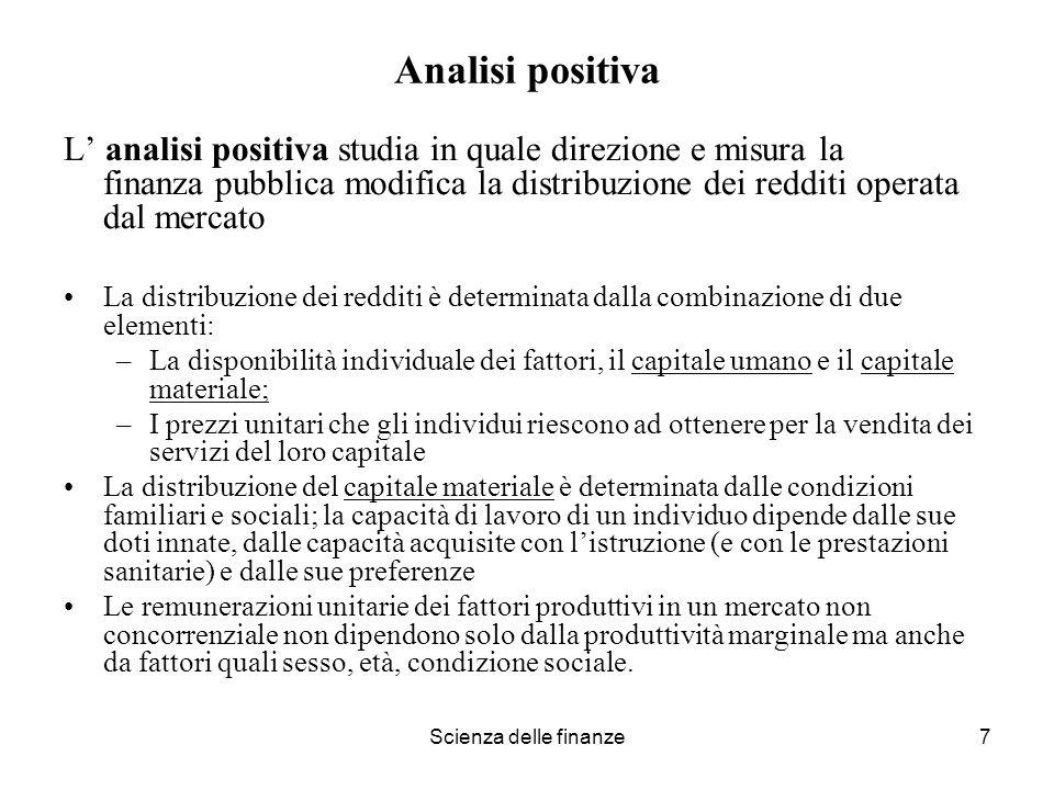 Analisi positiva L' analisi positiva studia in quale direzione e misura la finanza pubblica modifica la distribuzione dei redditi operata dal mercato.