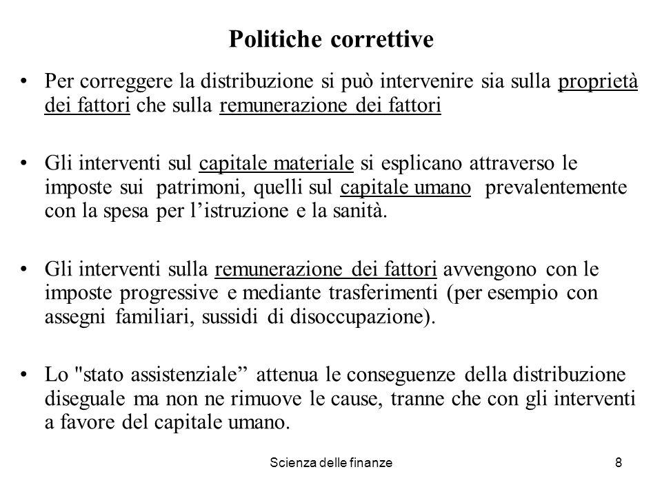 Politiche correttivePer correggere la distribuzione si può intervenire sia sulla proprietà dei fattori che sulla remunerazione dei fattori.