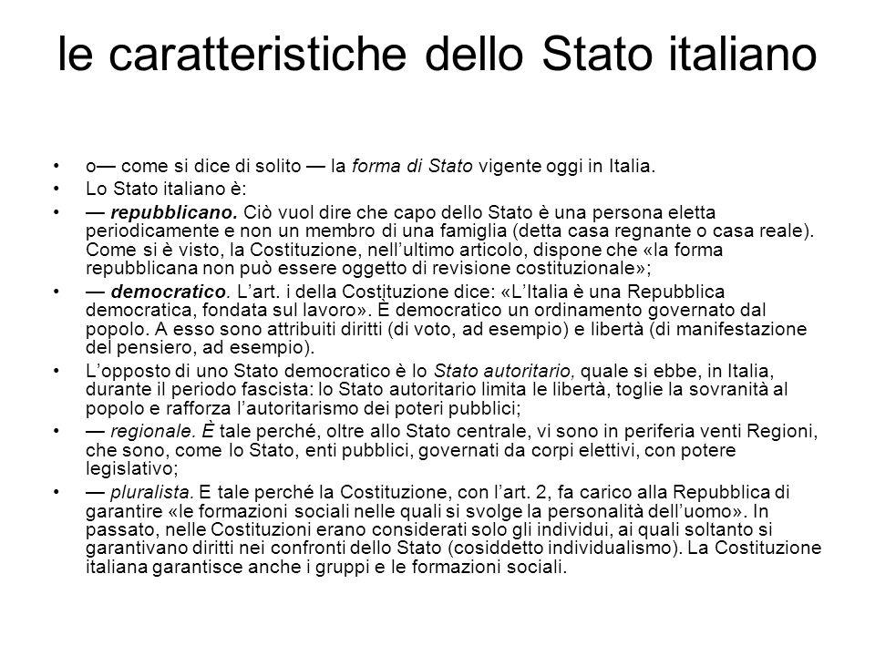 le caratteristiche dello Stato italiano