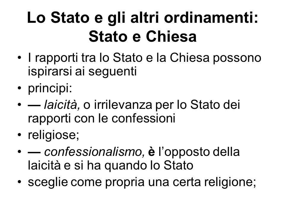 Lo Stato e gli altri ordinamenti: Stato e Chiesa