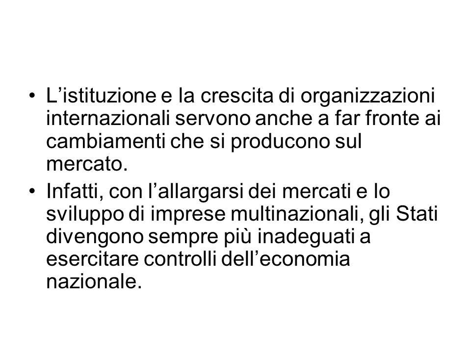 L'istituzione e la crescita di organizzazioni internazionali servono anche a far fronte ai cambiamenti che si producono sul mercato.