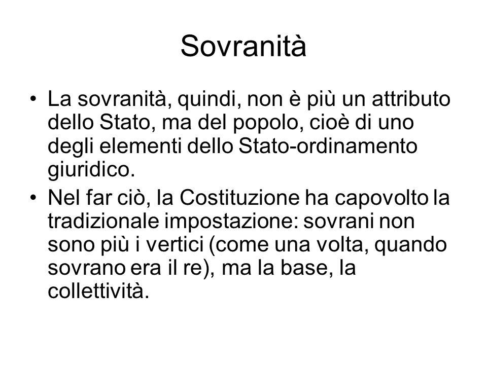 Sovranità La sovranità, quindi, non è più un attributo dello Stato, ma del popolo, cioè di uno degli elementi dello Stato-ordinamento giuridico.