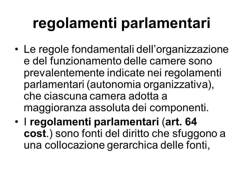 regolamenti parlamentari