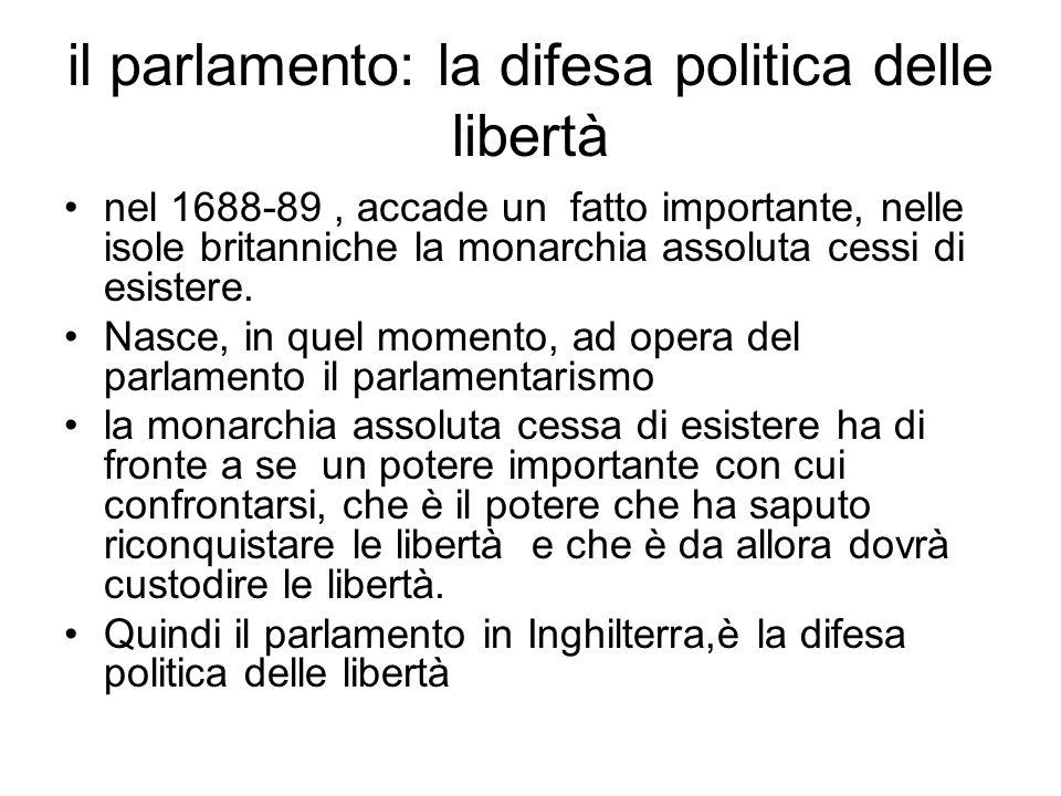 il parlamento: la difesa politica delle libertà