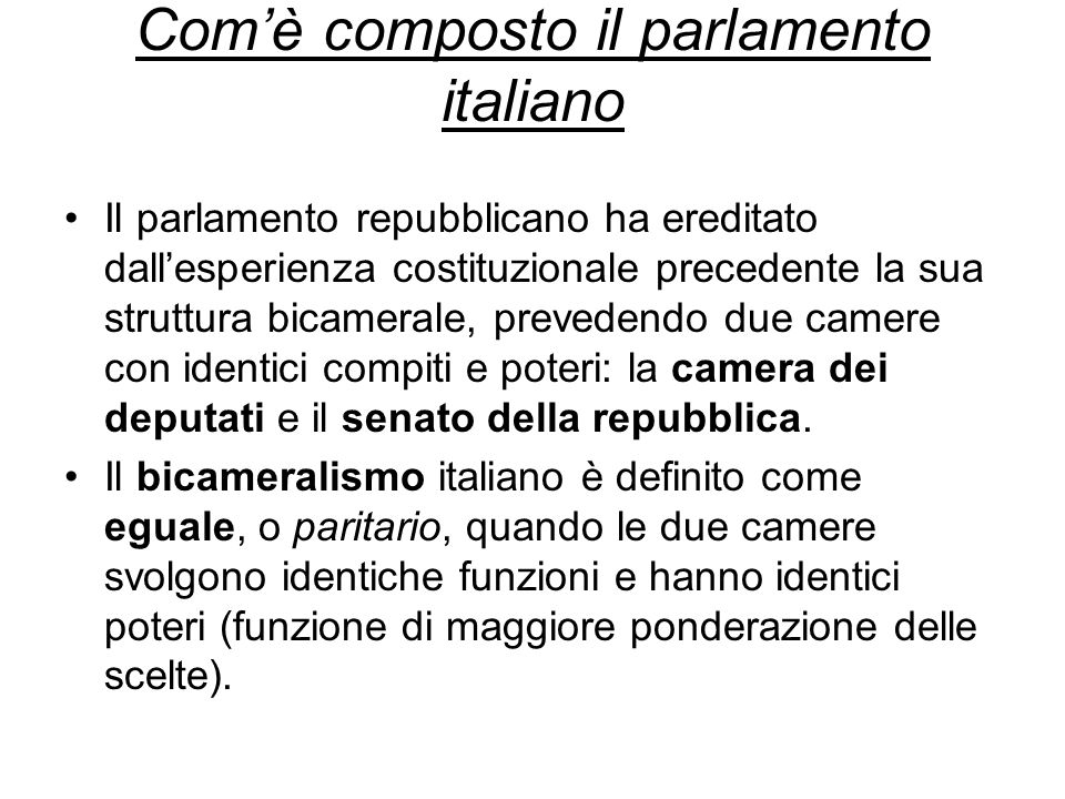 Com'è composto il parlamento italiano